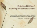 Building Utilities 1  Plumbing and Sanitary Systems