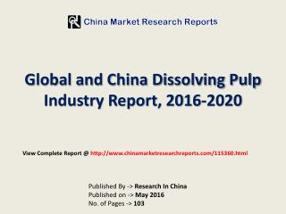 Global Dissolving Pulp Market Size, Share and Industry Outlook 2016-2020