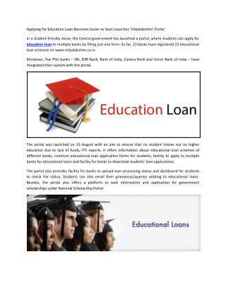 Applying for Education Loan Becomes Easier as Govt Launches 'Vidyalakshmi' Portal