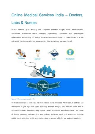 Online Medical Services India – Doctors, Labs & Nurses