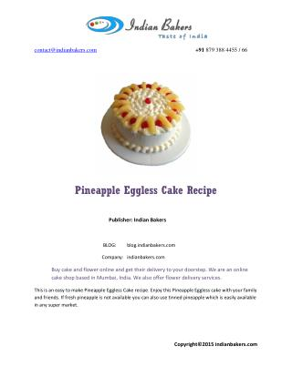 Pineapple Eggless Cake Recipe