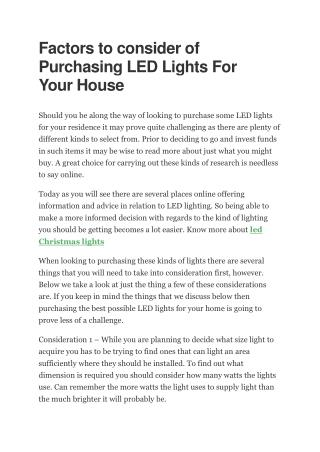 Factors to consider of Purchasing LED Lights For Your House