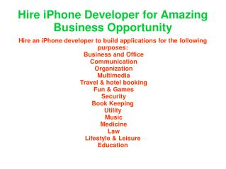 for business oportunities hire iphone developer