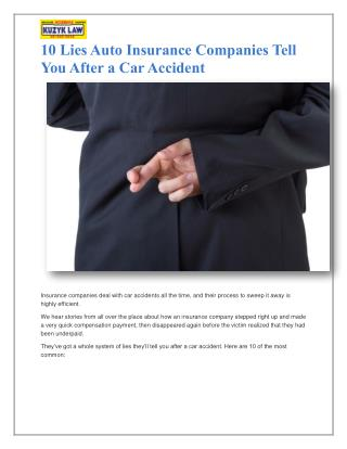 10 Lies Auto Insurance Companies Tell You After a Car Accident