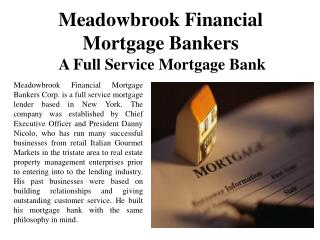 Meadowbrook Financial Mortgage Bankers A Full Service Mortgage Bank