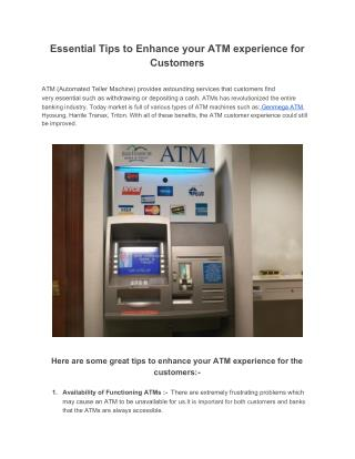 Essential Tips to Enhance your ATM experience for Customers