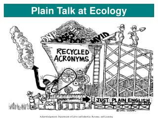 Plain Talk at Ecology