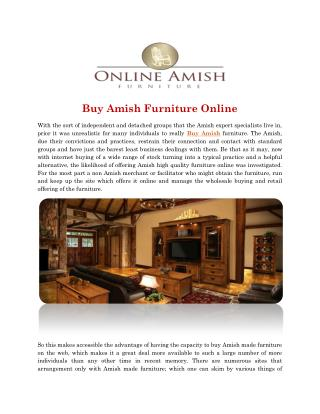 Buy Amish Furniture Online