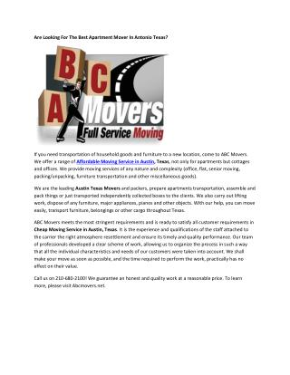 Cheap Movers Austin