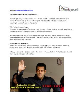 Latest Salman Khan & Shahrukh Khan Box Office - Blog to Bollywood
