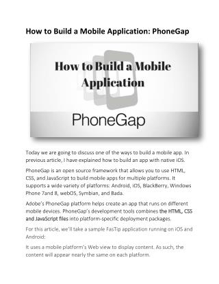 How to Build a Mobile Application: PhoneGap