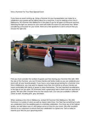 Hire a Hummer For Your Next Special Event
