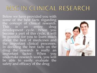 Msc in clinical Research For Bright Future