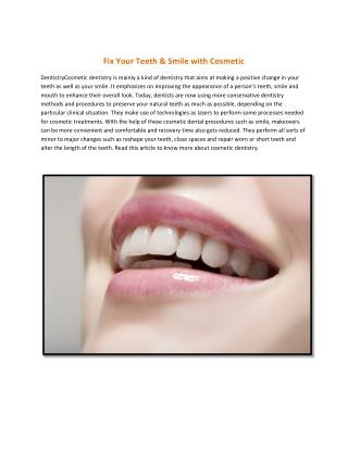 Fix Your Teeth & Smile with Cosmetic Dentistry
