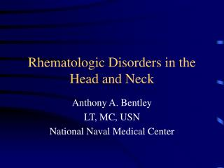 Rhematologic Disorders in the Head and Neck