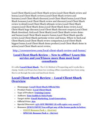 Local Client Shark review - 65% Discount and FREE $14300 BONUS