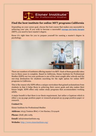 Find the best institute for online MFT programs California