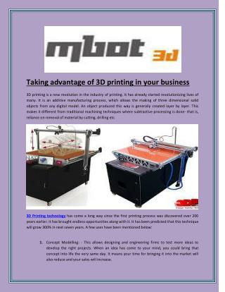 Taking advantage of 3D printing in your business