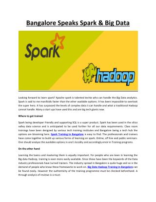 Bangalore Speaks Spark & Big Data