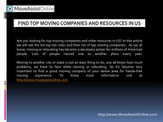Top Moving Companies and Other Resources in US