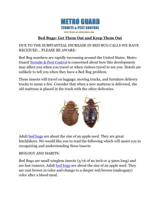 Bed Bugs: Get Them Out and Keep Them Out