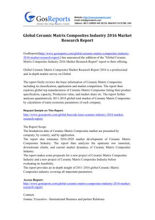 Global Ceramic Matrix Composites Industry 2016 Market Research Report