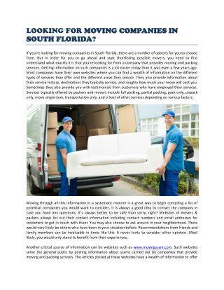 How to Find Moving Companies In South Florida
