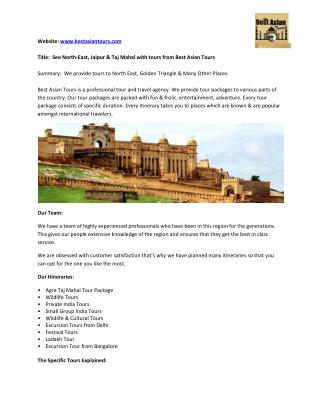 Best Asian Tours - North East India, Same day Jaipur and Taj Mahal Tour Package