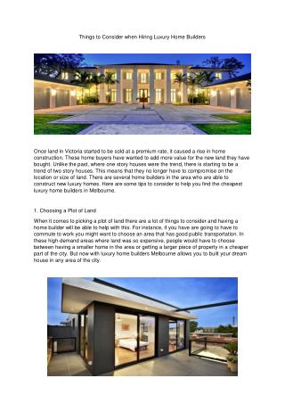 Things to Consider when Hiring Luxury Home Builders