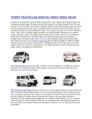 Tempo Travellers Rental India Delhi