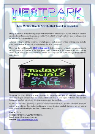 LED Writing Boards Are The Best Tools For Promotion