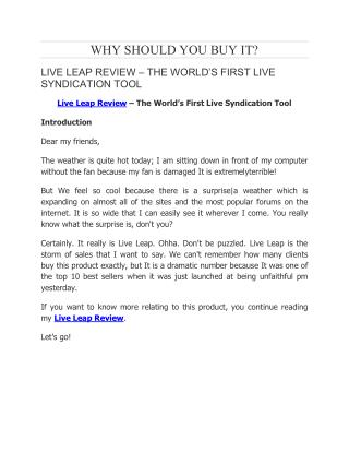 Live Leap Review