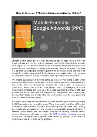 How to focus on PPC advertising campaign for Mobile?