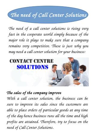 The need of Call Center Solutions