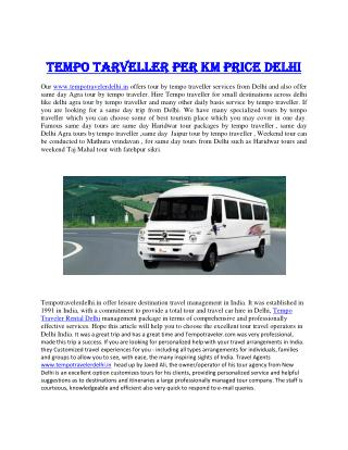 Tempo Traveler Price in Delhi
