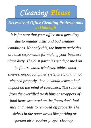 Necessity of Office Cleaning Professionals in Oakleigh