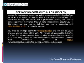 Are You Searching for Moving Companies in Los Angeles?
