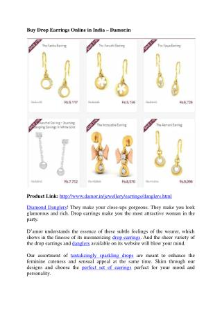 Drop Earrings: Dangler Earrings in India - Damor.in