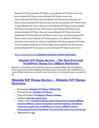 Minisite WP Theme review & (GIANT) $24,700 bonus