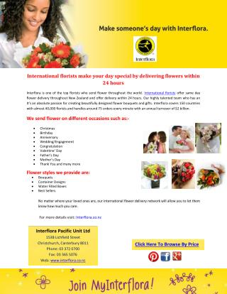 International florists make your day special by delivering flowers within 24 hours