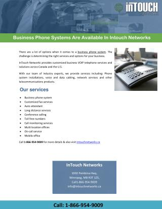 Business Phone Systems Are Available In Intouch Networks
