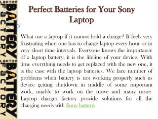 Perfect Batteries for Your Sony Laptop