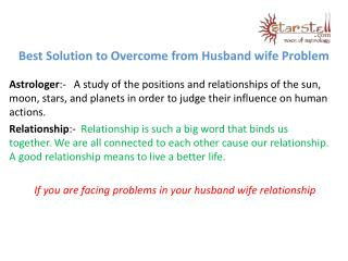 Best Solution to Overcome from Husband wife Problem