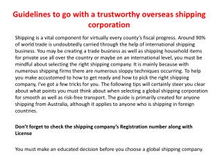 Guidelines to go with a trustworthy overseas shipping corporation