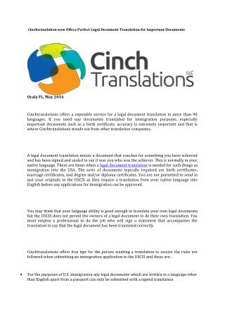 Cinchtranslation now Offers Perfect Legal Document Translation for Important Documents