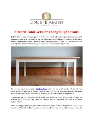 Kitchen Table Sets for Today's Open Plans