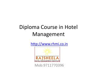Diploma Course In Hotel Management After 10th