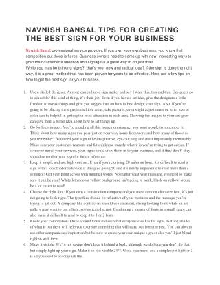 NAVNISH BANSAL TIPS FOR CREATING THE BEST SIGN FOR YOUR BUSINESS