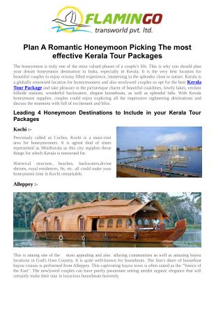 Plan A Romantic Honeymoon Picking The most effective Kerala Tour Packages