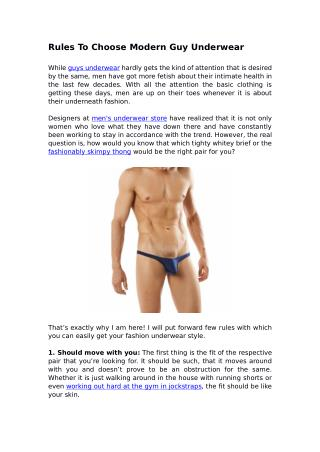 Rules To Choose Modern Guy Underwear